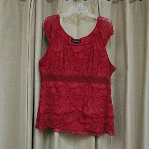 Patterned Red Top